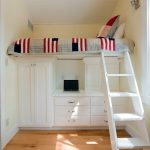Kids White Loft Bed Colorful Bedding White Built In Closet Drawers Knobs White Desk White Ladder Pillow Wall Sconce Window