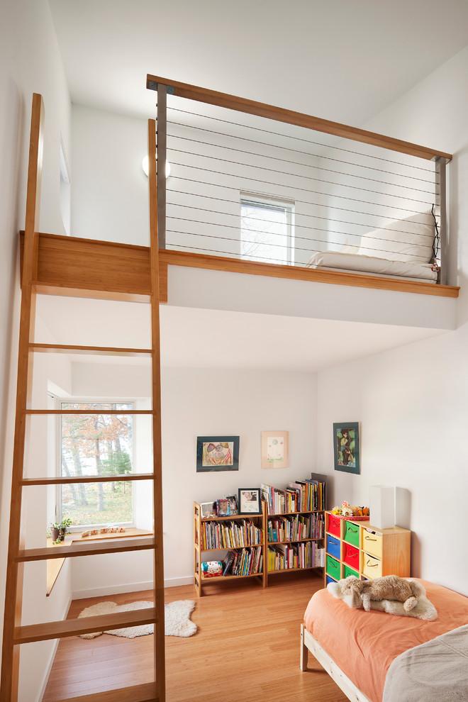 kids white loft bed wire railing wooden cap wooden ladder white wall ceiling bookshelves bed white bed corner windows
