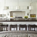 Kitchen Stool Brown Top White Island White Pendant Lamps Backsplash White Kitchen Caibinets Stove Oven Undermount Sink Drawers