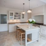 Kitchen Stool Pendant Lamps White Kitchen Cabinet Grey Island Grey And Whte Countertops Backsplash Stove Oven Shelves White Sink