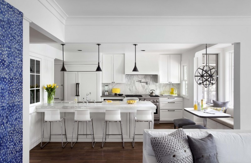 kitchen stool white kitchen cabinets white countertops black pendant lamps window seat marble backsplash stove oven sink windows pedestal table