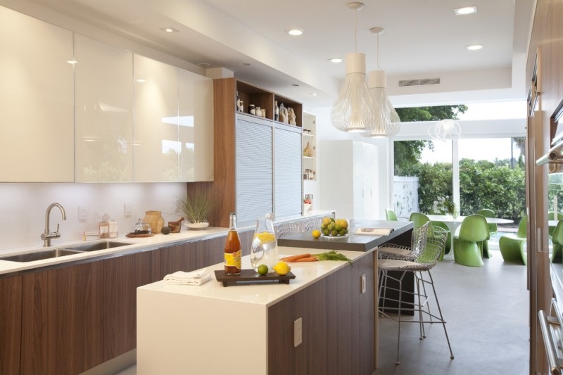 kitchen stool wooden island and cabinet white countertops double sink white pendant lamps recessed lighting flat panel top cabinet mounted table