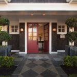 Red Door Designs Grey Concrete Outdoor Floor Outdoor Wall Sconces Square White Glass Windows Entryway Table