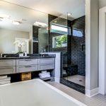 Regal Glass Black Shower Wall Tile Glass Door Mirror Granite Countertop Drawers Undermount Sink Towels Basket Floor Tile