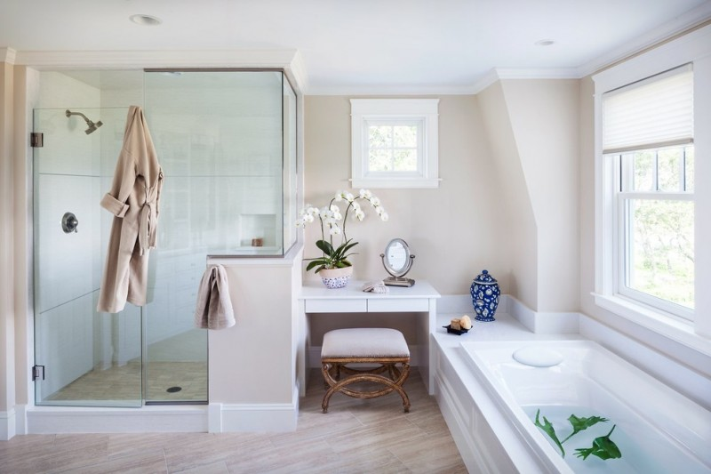 regal glass white shower tile glass doors orchid white desk stool white built in tug vinyl floor white window white window shade