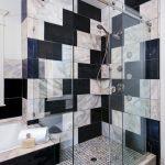 Sliding Glass Shower Door Black And White Marble Tiles Mosaic Floor Tile Recessed Lighting Shower Head Built In Bathtub