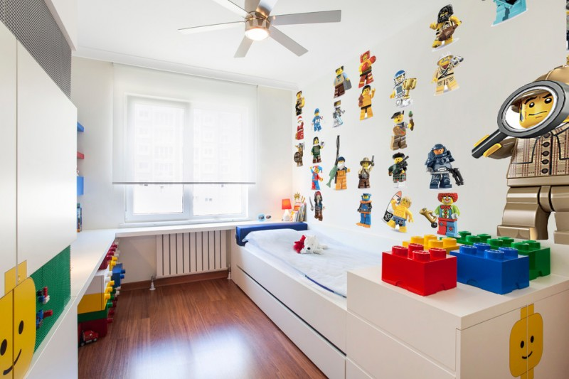 toddler boys bed ceiling fan with lighting white built in bed legos wall decor white cbainets colorful storages window blind