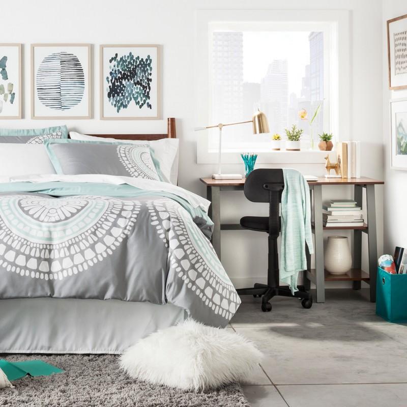 watercolor duvet grey blue bedding art wall decor black office chair grey desj white walls glass window pillows shag rug