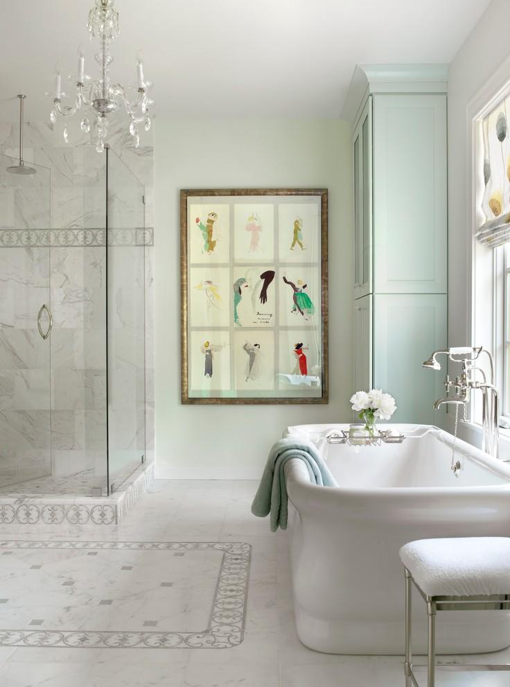 acrylic freestanding bathtub artwork crystal chandelier window shade white stool tub filler towel glass shower doors
