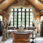 Bathroom With Two Couches, Brown Antique Ceramic Floor, Golden Brass Metallic Tub
