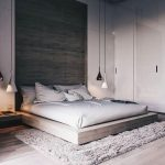 Bedroom With Grey Wall, Grey Cupboard, Grey Wooden Flooring, Grey Wooden Bedding, Grey Linen, Grey Rug, White And Black Lamps