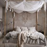 Bedroom With Light Brown Wooden Floor, Brown Wall, White Bed Curtain With Bamboo, Macrame, Side Table With Lamps, Brown Wall