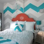 Chevron Accent Wall Blue And White Bedding Red Headboard Mirrored Devider Mirrored Nightstand Blue Table Lamps Pillows Chandelier Wall Sconce
