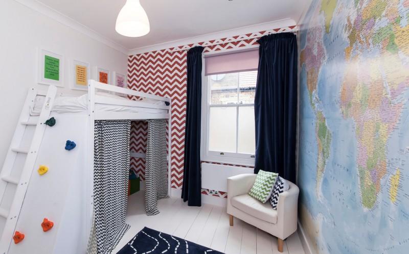 chevron accent wall white bunk bed blue curtains blue rug armchair pillows curtains white floor tile pendant lamp window shade