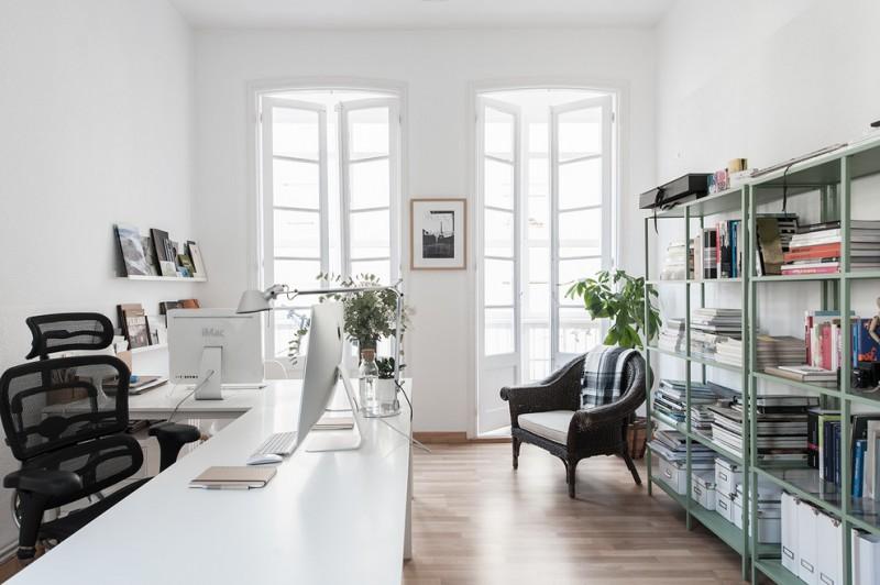 cool office desks black office cair black rattan armchair wood flooring green metal books rack wall mounted shelves white framed glass doors
