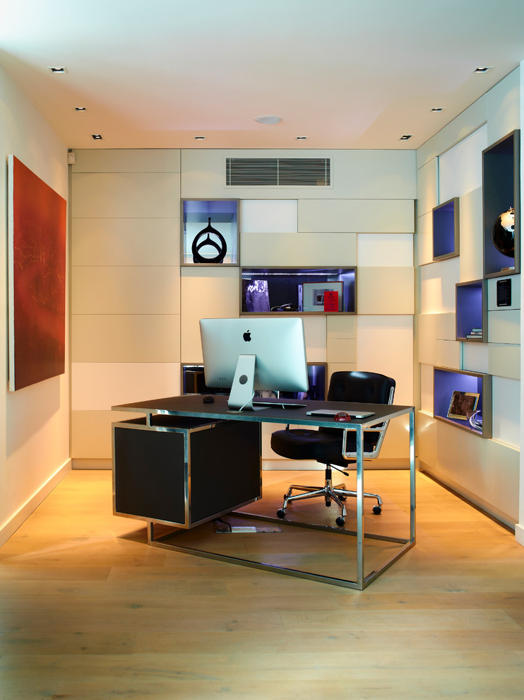 cool office desks built in shelves black desk black leathered office chair wooden floor recessed lighting drawers red artwork