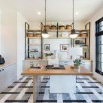 Cool Office Desks Metal Shelves Grey Drawers Patterned Floor Tile Black Framed Glass Windows White Office Chair Artwork Pendant Lamps