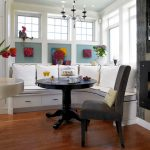 Corner Bench Seating With Storage Colorful Decorations Black Pedestal Coffee Table Chair Fireplace White Pillows Cushions Drawers Windows