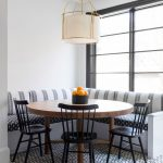 Corner Dining Set With Round Wooden Table, Black Metallic Chair, Striped Corner Bench