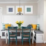 Corner Dining Set With Wooden Square Table, Green Wooden Chairs, White Corner Bench With Grey Cushion And Colorful Pillows