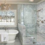 Delta Tub Shower Faucet Crystal Chandeliier Freestanding Bathtub Window Nikel Shower Fixture Grey Tiles Frameless Shower Glass Doors