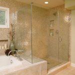 Delta Tub Shower Faucet Mosaic Gold Tiles Window Built In Bathtub Tub Filler Frameless Glass Doors Recessed Lighting Beige Floor Tile