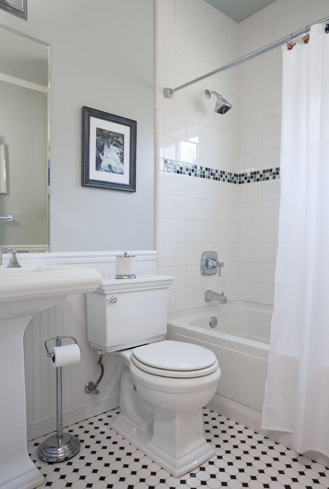 delta tub shower faucet white curtain white sink mirror curtain rod artwork built in bathtub black and white floor tiles white tile toilet tissue holder