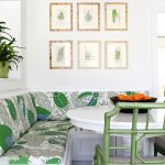 Dining Room With Corner White Bench With Leaves Patterned Cushion, White Round Table