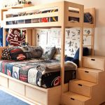 Full Over Queen Bunk Bed Colorful Bedding Stairs Drawers Basket Blue Area Rug Wooden Bunk Bed Wooden Cupboard Wall Decor