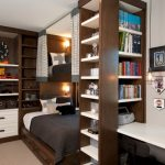 Full Over Queen Bunk Bed Grey Bedding Built In Bookshelves Drawers Window Pendant Light Wall Sconces Curtains Desk Chair