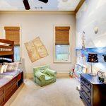 Full Over Queen Bunk Bed Windows Rattan Shades Wall Mural Black Drawers Green Floor Cushion Black Table Lamp Bookshelves