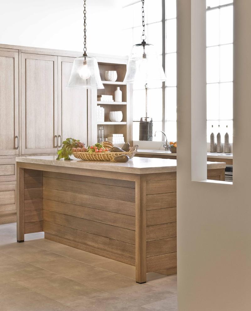 glass dome pendant light wooden kitchen cabinets wooden island beige countertops undermount sink faucet glass windows shelves beige tiles