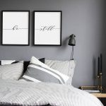 Grey Bedroom With Grey Wall, White Painting, Black Side Lamp, Wooden Side Table, Grey Linen