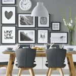 Grey Dining Room With Light Grey Wall, Wooden Table Set With Gery Cushion Chair, White Hanging Lamp, White And Black Painting, White Clock