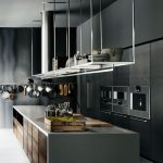 Grey Kitchen With Grey Cabinet, Grey Island, White Hanging Rack