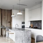 Grey Kitchen With Light Grey Marble Topped Island, Lanky Bar Chair, White Hanging Lamp, White Cabinet