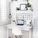 Home Office With White Floor, White Wal, White Wooden Table, White Midcentury Chair, White Cabinet Beside, White Board Shelves, Minimalist Accesories