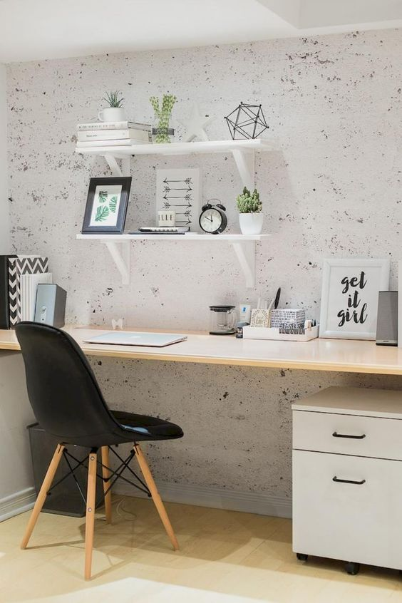 home office with wooden floor, wooden table, white cabinet, black midcentury chair, white board shelves
