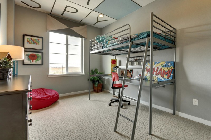 kids desk with chairs metal bunk bed ladder ren bean bag grey drawers table lamp red chair blue bedding window valance artwork