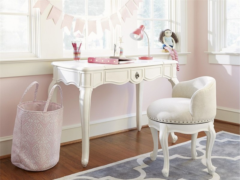 kids desk with chairs white antique desk pink table lamp cushioned chair pink walls basket wooden floor whiteframed windows