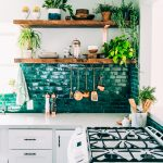 Kitchen With White Cabinet, White Marble Top, White Wall, Greey Tiles Backsplash, Wooden Board Shelves