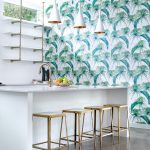 Kitchen With White Marble Top And Copper Chairs, White Wall, Coconut Plants Wallpaper