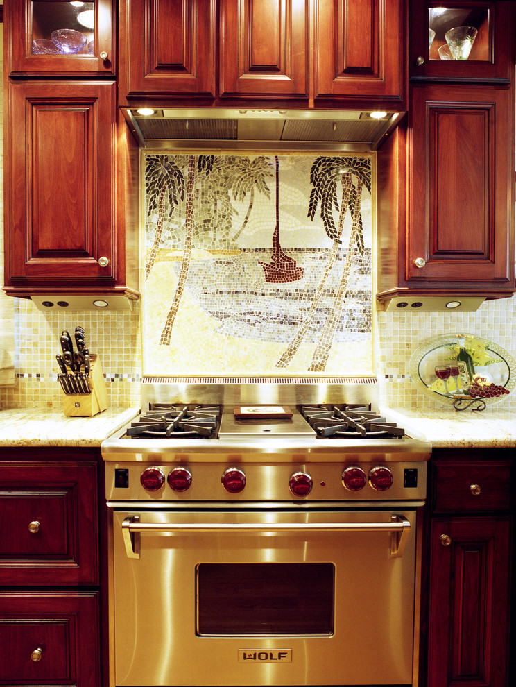 kitchenette with mosaics backsplash, in the middle of the backsplash is coconut trees view, dark wooden cabinet on top and below
