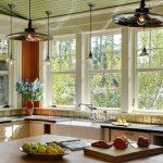 Light Over Kitchen Sink Flat Antique Mercury Pendants Green Ceiling Black Countertop Beige Cabinets Glass Windows