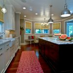 Light Over Kitchen Sink Red Kitchen Mat Wooden Floor White Cabinets Brown Island White And Blue Countertops Window Shade