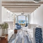 Living Rom With White Wall, Blue Wooden Floor, White Sofas, White And Blue Chairs, Wooden Table