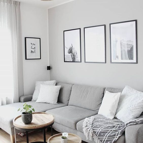 living room with grey sofa, white pillows, wooden round coffee tables, black and white paintings