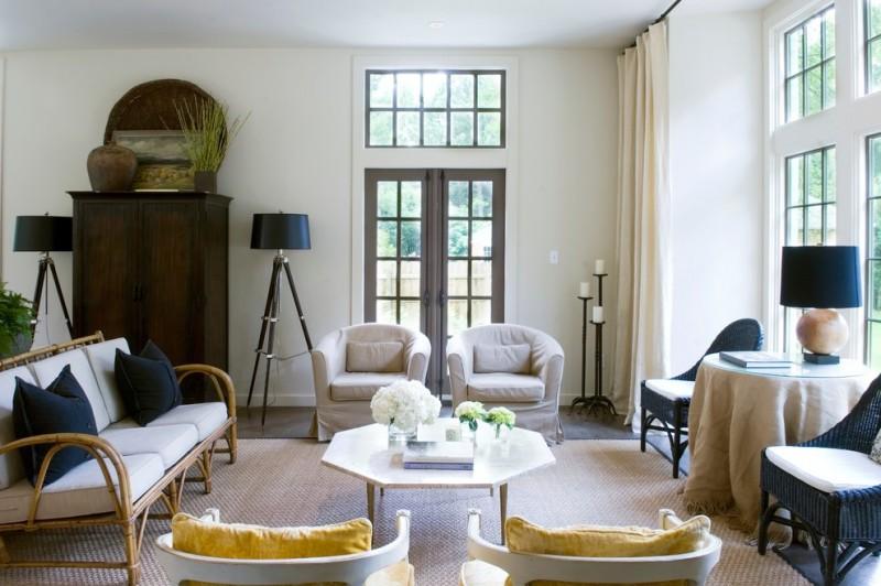 octagonal table bamboo sofa rattan chair armchairs black floor lamps wooden cupboard glass doors area rug table lamp curtain