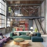 Open Space With Grey Floor, Rattan Rug, Green Sofa, Purple Sofa, Round Wooden Coffee Table With Glass Top, Kitchen With Glass Partition, Bedroom With Rails Fence Upstairs