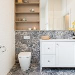 Over The Toilet Storage Patterned Tile Mirrored Cabinet Wooden Shelves White Vanity Sink Wall Mounted Faucet Towel Ring
